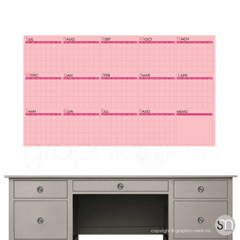 ACADEMIC YEAR BLANK CALENDAR - July thru August - DRY ERASE WALL DECAL pink