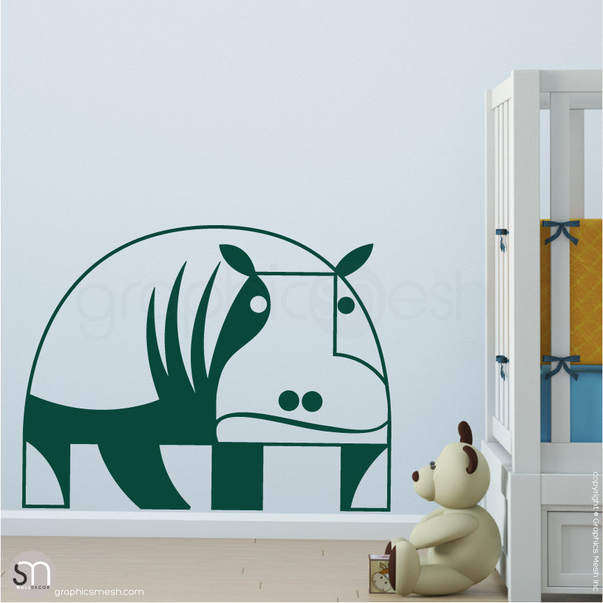 GEOMETRIC HIPPO - wall decals dark green