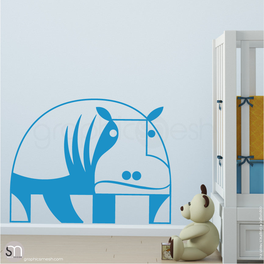 GEOMETRIC HIPPO - wall decals light blue