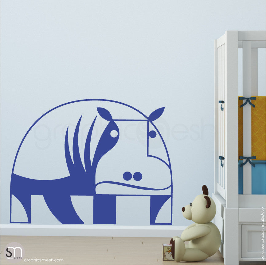 GEOMETRIC HIPPO - wall decals intense blue