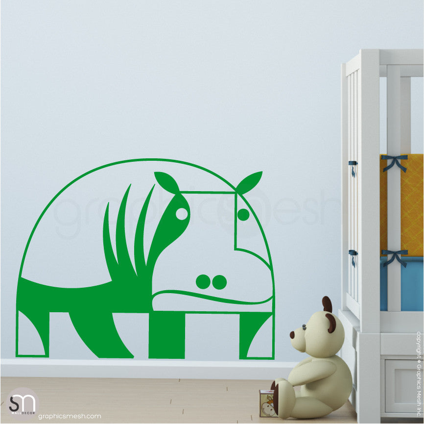 GEOMETRIC HIPPO - wall decals grass green
