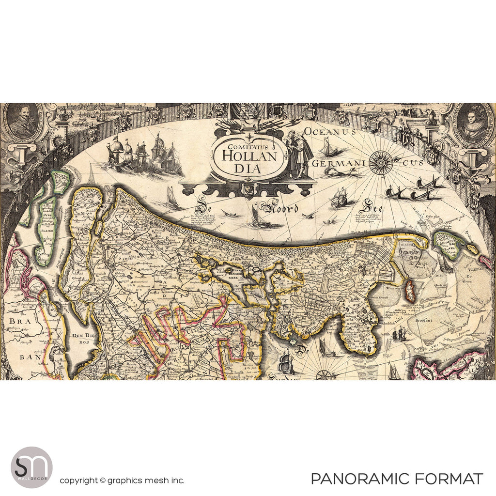 ANTIQUE MAP OF HOLLAND - Wall Mural panoramic