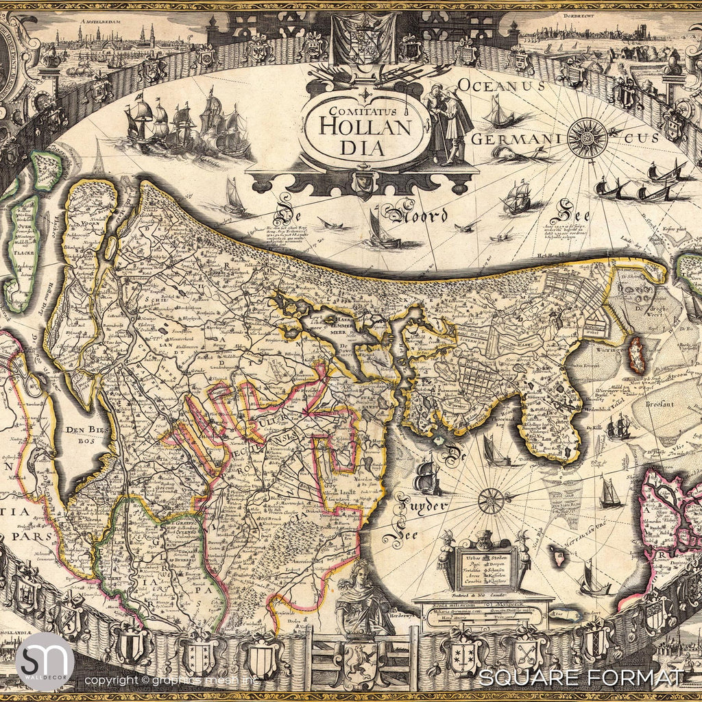 ANTIQUE MAP OF HOLLAND - Wall Mural square