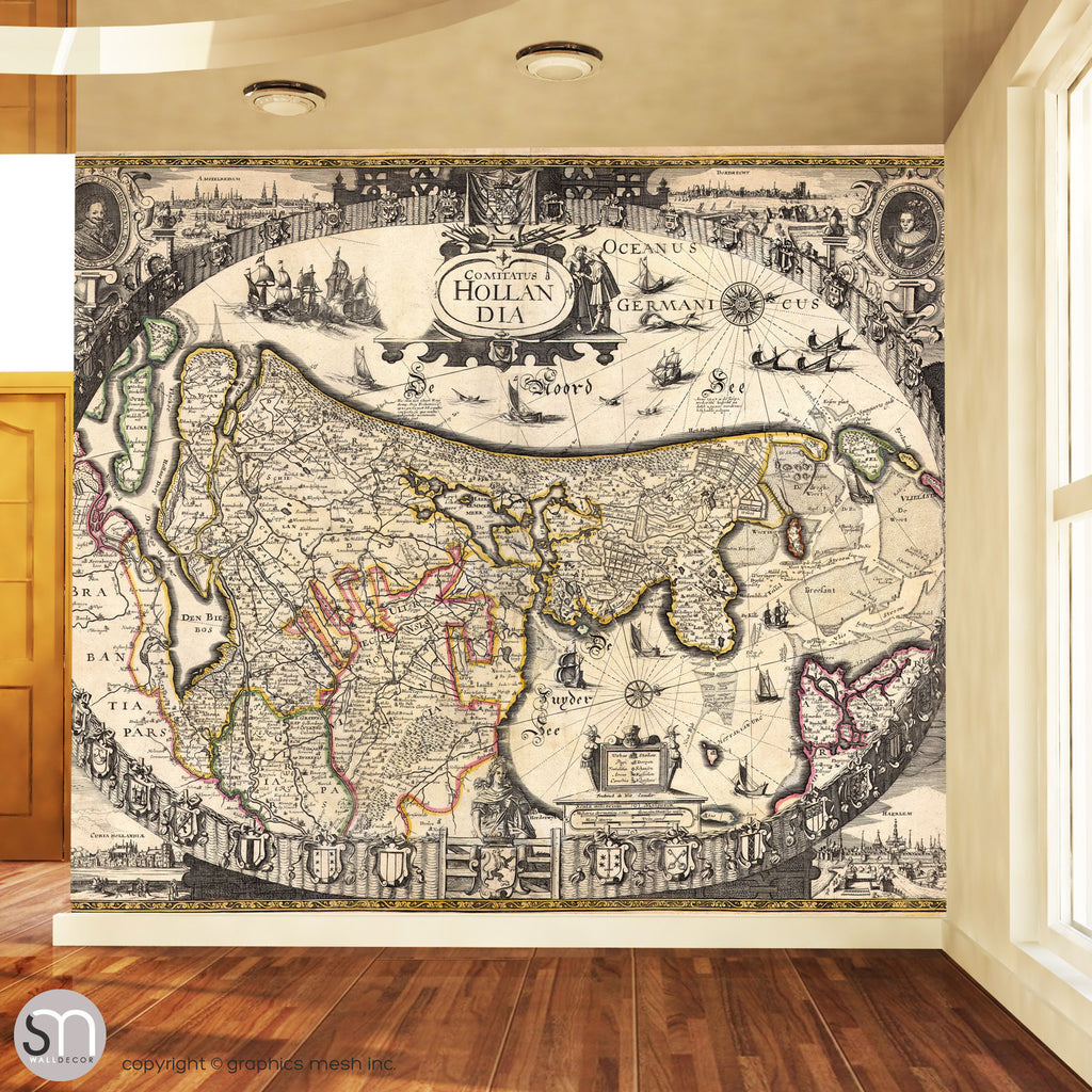 ANTIQUE MAP OF HOLLAND - Wall Mural living room