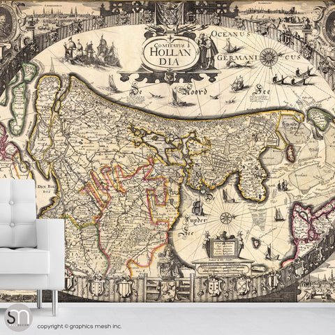 ANTIQUE MAP OF HOLLAND - Wall Mural