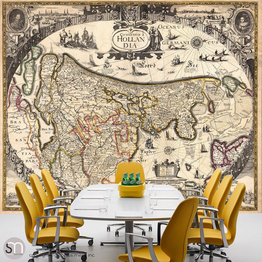 ANTIQUE MAP OF HOLLAND - Wall Mural office