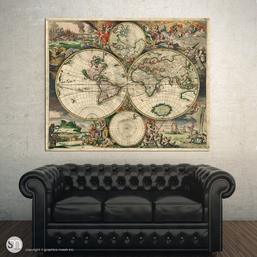 VINTAGE WORLD MAP 1689 - Wall Art