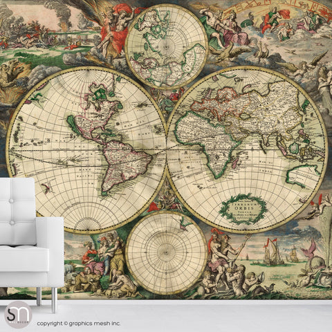 ANTIQUE MAP OF WORLD 1689 - Wall Mural