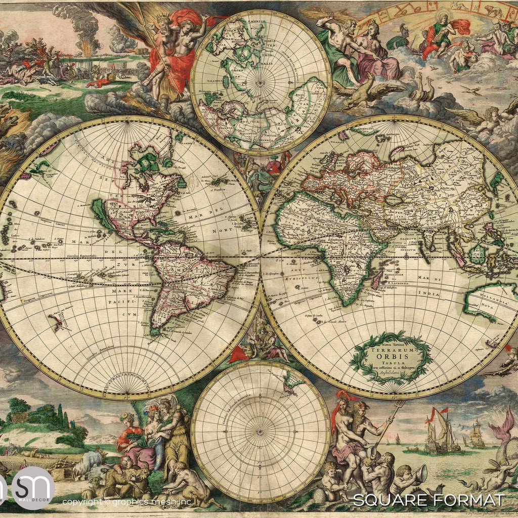 ... ANTIQUE MAP OF WORLD 1689   Wall Mural ...