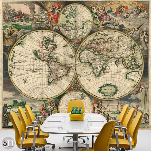ANTIQUE MAP OF WORLD 1689 - Wall Mural office