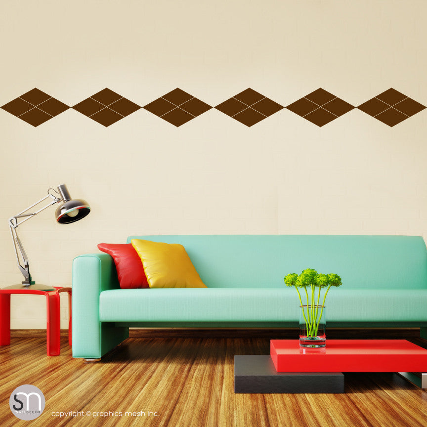 ARGYLE PATTERN BORDER - Wall Decals brown