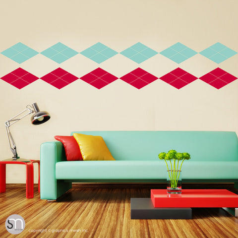 ARGYLE PATTERN BORDER - Wall Decals red and mint