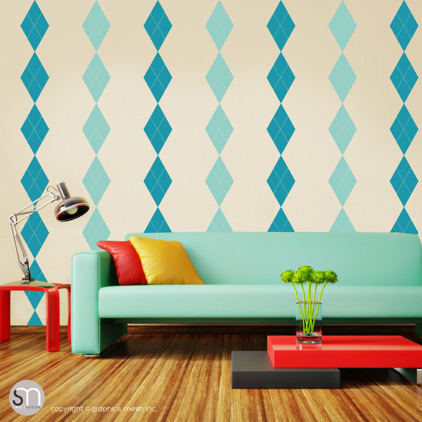 ARGYLE PATTERN BORDER - Wall Decals mint turquoise small print