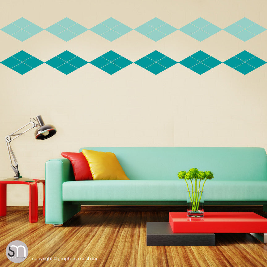 ARGYLE PATTERN BORDER - Wall Decals mint turquoise