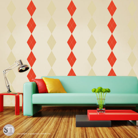 ARGYLE PATTERN BORDER - Wall Decals prange beige