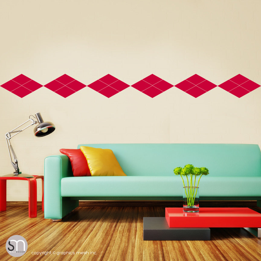 ARGYLE PATTERN BORDER - Wall Decals red