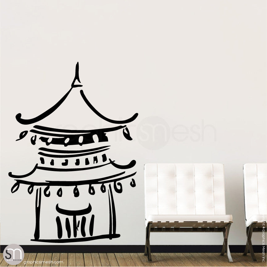 Asian Temple wall decals black