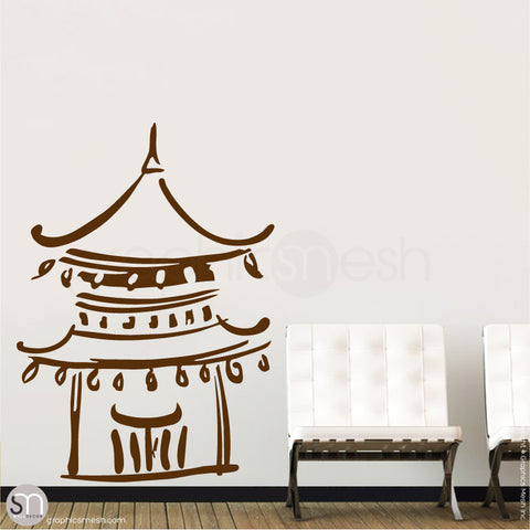 Asian Temple wall decals Brown