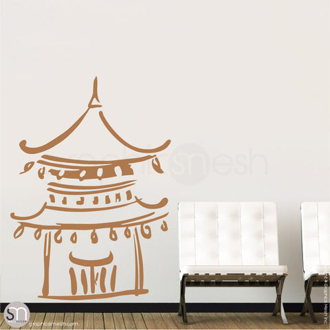 Asian Temple wall decals light brown