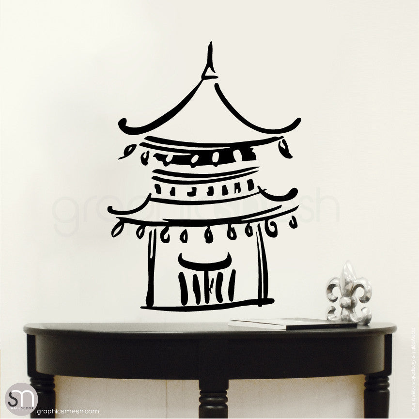 Asian Temple wall decals small black