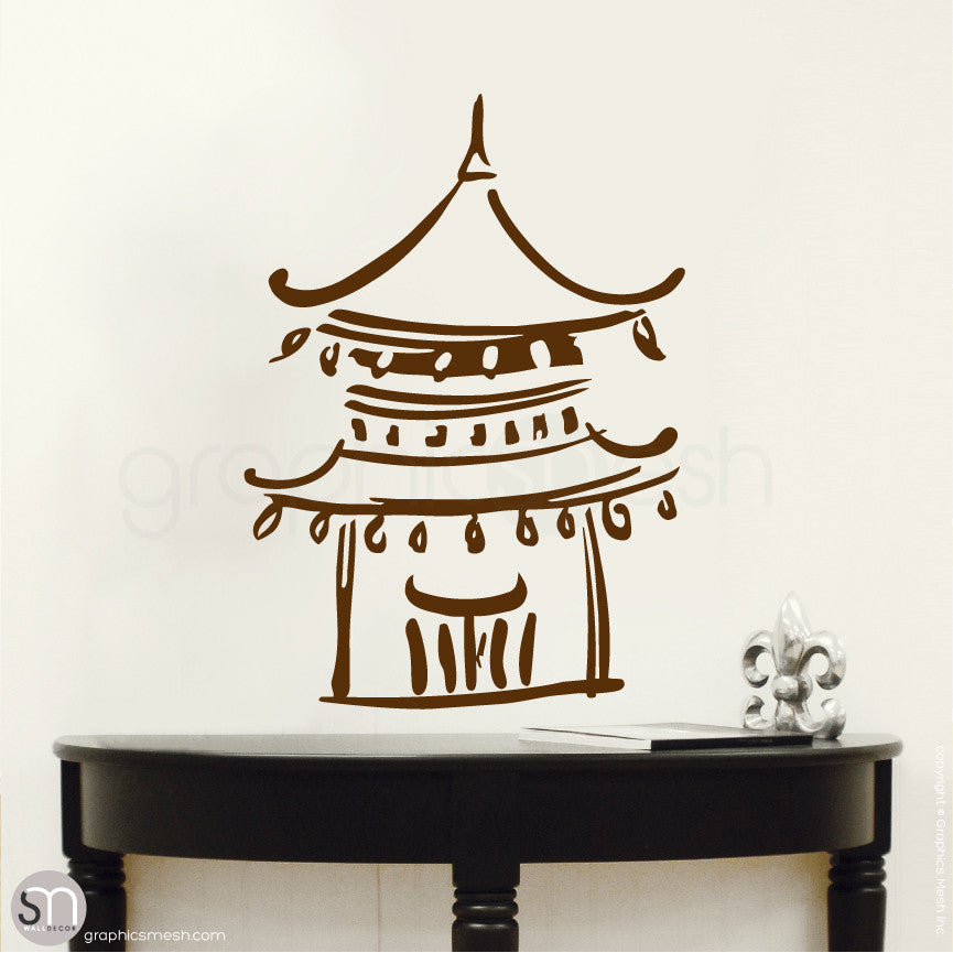 Asian Temple wall decals small brown
