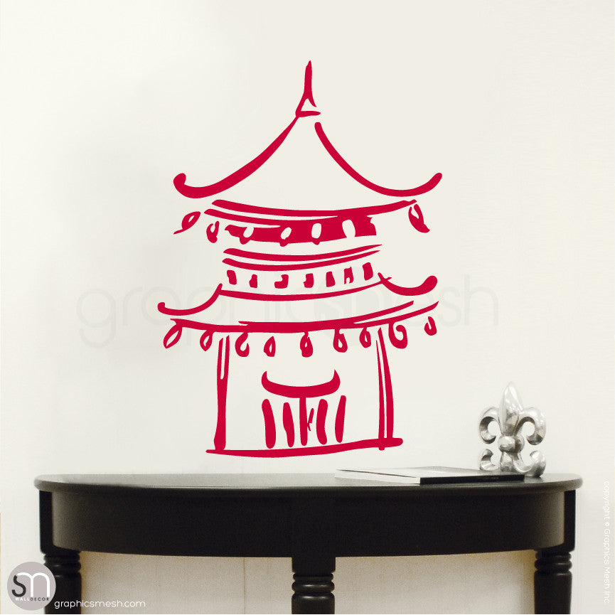 Asian Temple wall decals small red