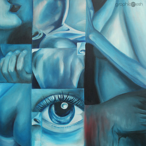 Blue Body - Original Fine Art Painting - Oil on Canvas close look