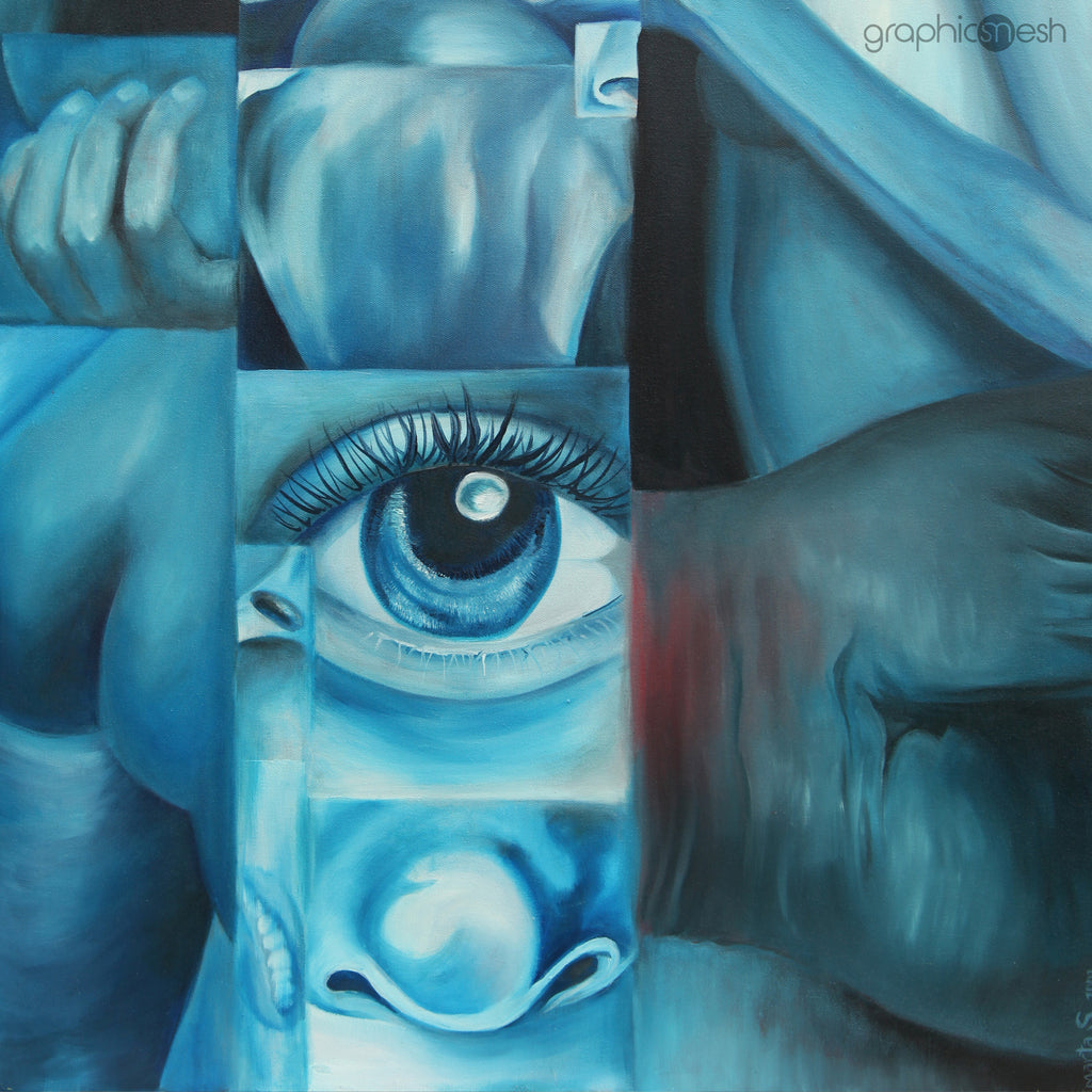 Blue Body - Original Fine Art Painting - Oil on Canvas closeup
