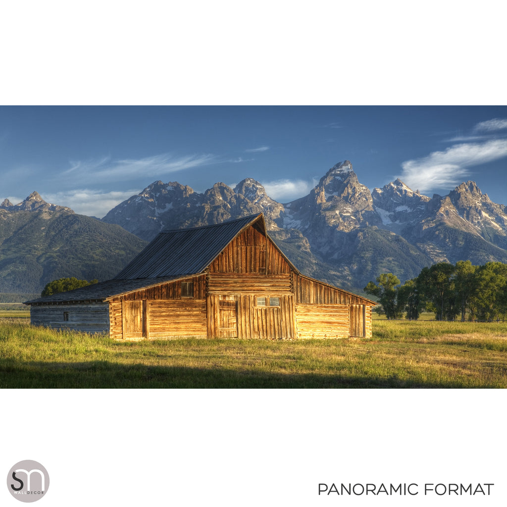 BARN IN THE MOUNTAINS - Wall Mural panoramic format