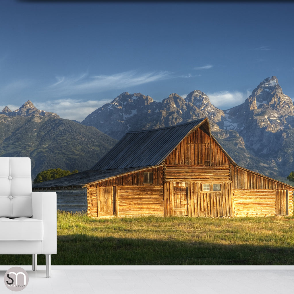 BARN IN THE MOUNTAINS - Wall Mural