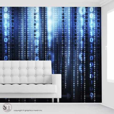 BIANARY CODE DARK BLUE - Peel & Stick Abstract Wallpaper living room