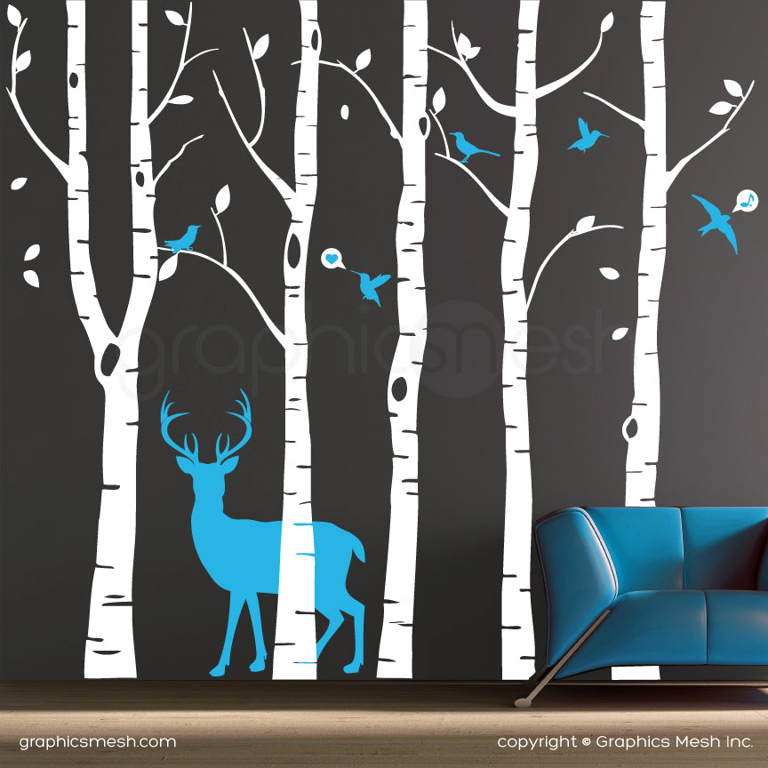 Birch trees, deer, birds wall decals