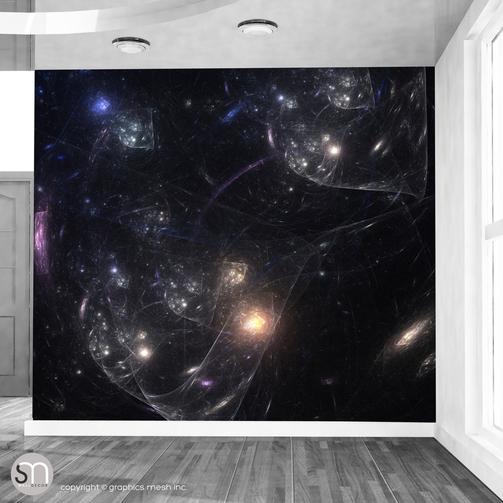 BLACK SPACE BUBBLES - Self Stick Wall Mural