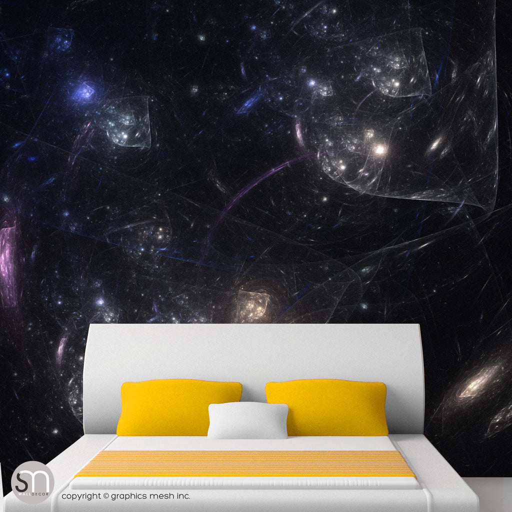 BLACK SPACE BUBBLES - Wall Mural