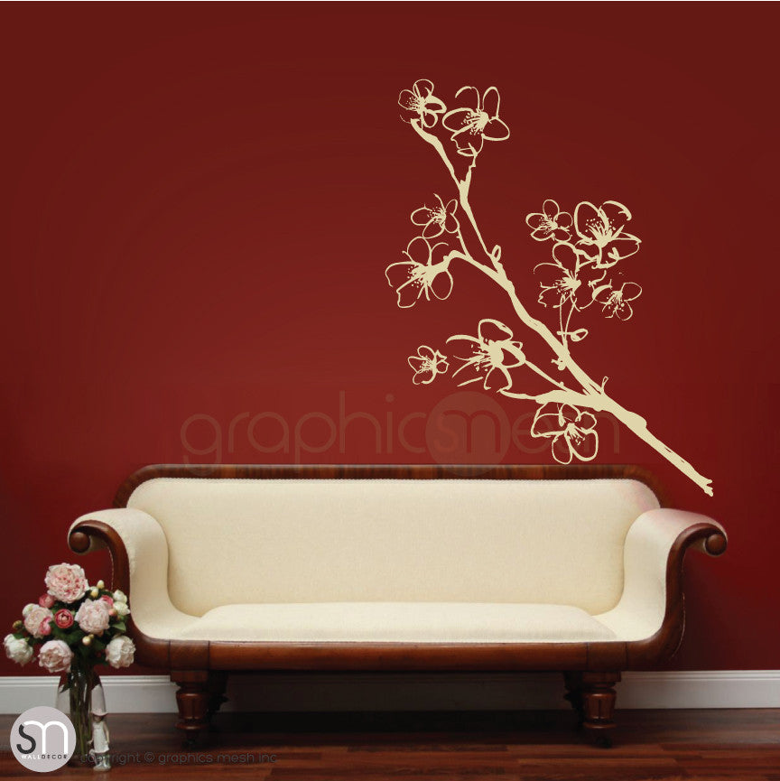 HAND DRAWN BLOSSOM BRANCH - Floral Wall decals beige