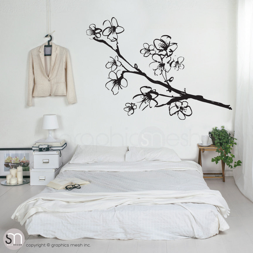 HAND DRAWN BLOSSOM BRANCH - Floral Wall decals black