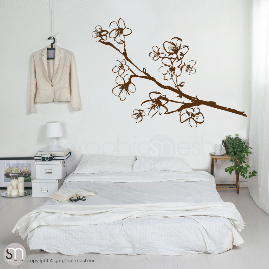 HAND DRAWN BLOSSOM BRANCH - Floral Wall decals brown