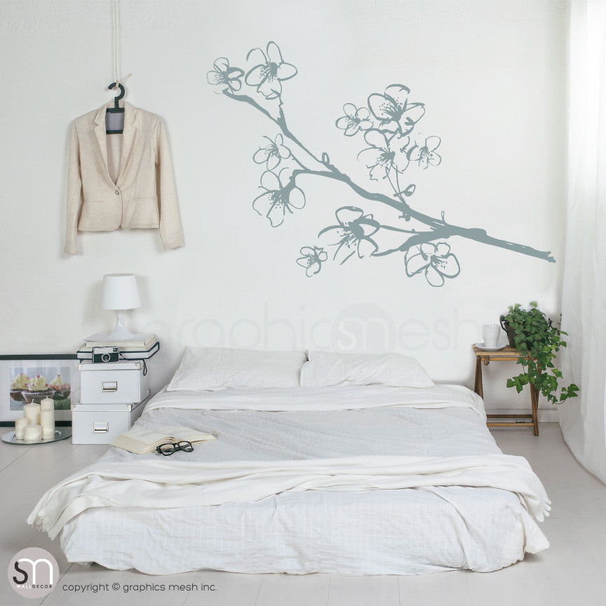 HAND DRAWN BLOSSOM BRANCH - Floral Wall decals grey