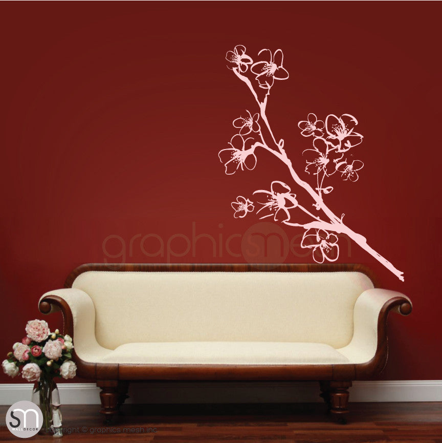HAND DRAWN BLOSSOM BRANCH - Floral Wall decals baby pink
