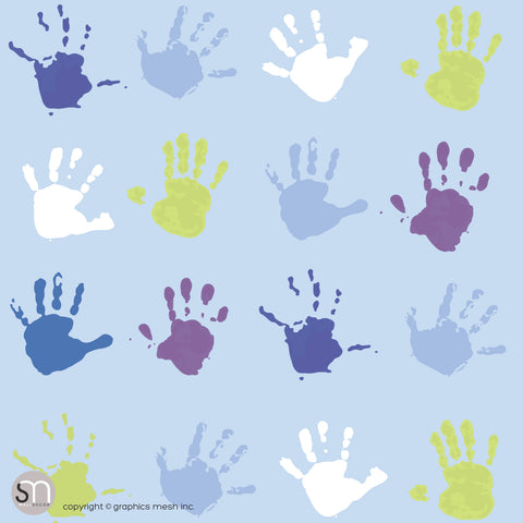 PAINT HAND PRINTS IN BLUE AND GREEN - Peel & Stick Wallpaper
