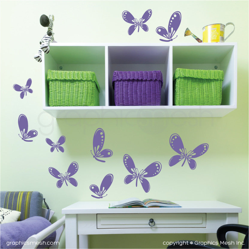 FLUTTER OF BUTTERFLIES - Kids wall decals