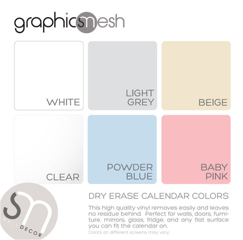 Dry Erase Calendar Decal Set of three colors avaiable