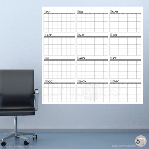 Large dry erase yearly calendar in white 48x50 inches