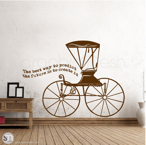RUSTIC CARRIAGE & QUOTE - WALL DECALS brown