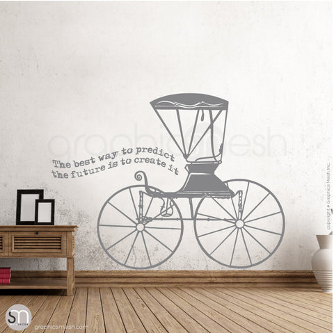 RUSTIC CARRIAGE & QUOTE - WALL DECALS grey