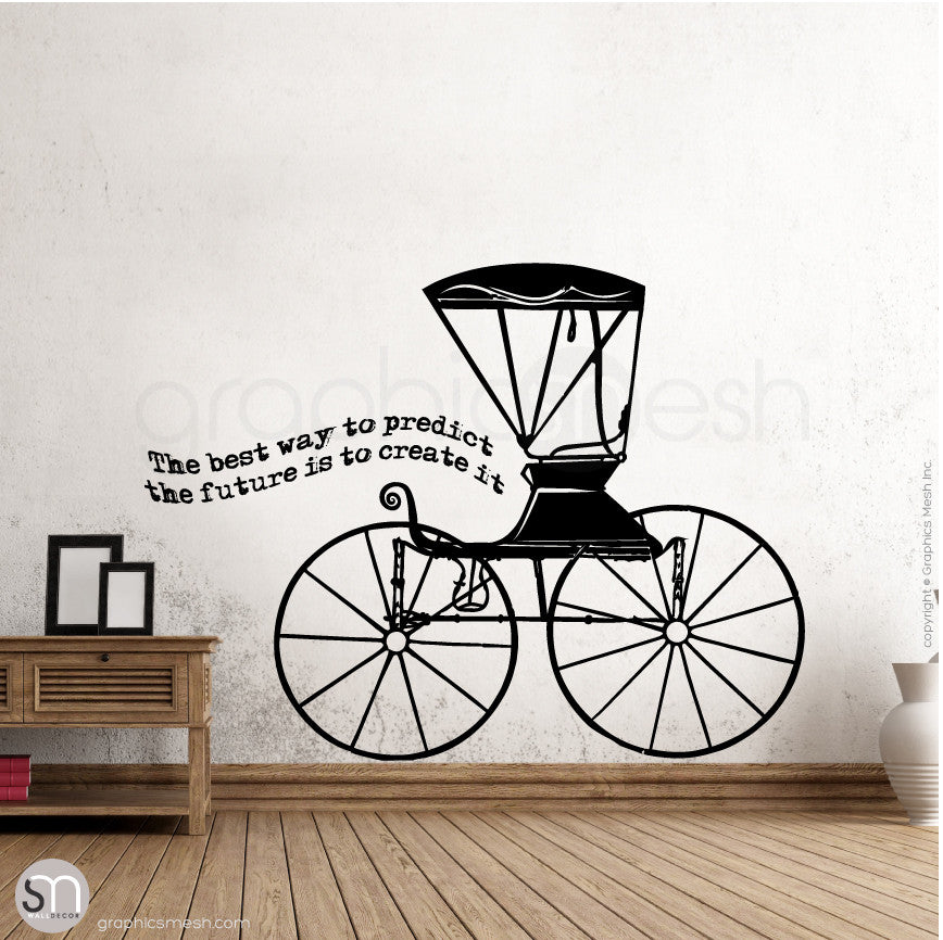 RUSTIC CARRIAGE & QUOTE - WALL DECALS Black