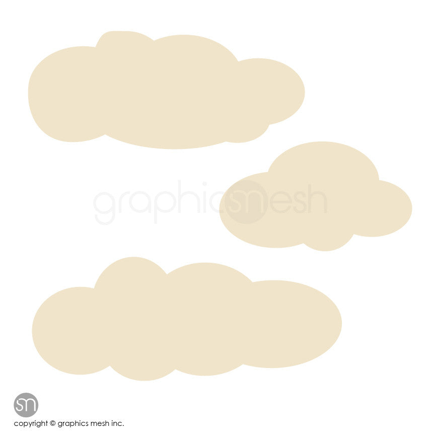 CARTOON CLOUDS MEMO - DRY ERASE WALL DECALS beige