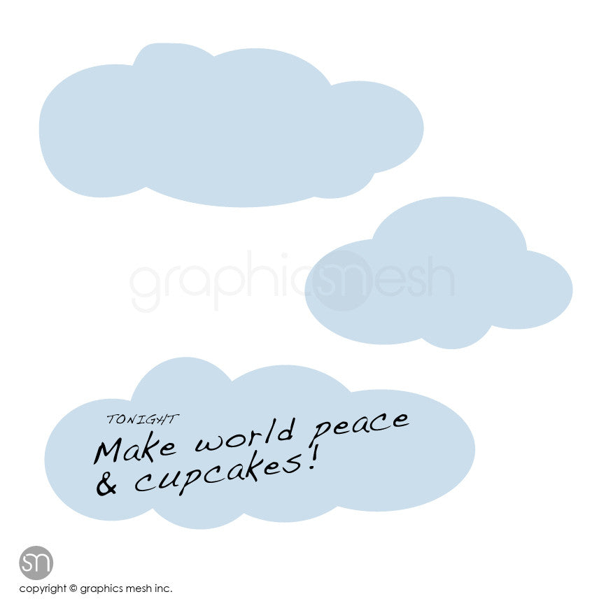 CARTOON CLOUDS MEMO - DRY ERASE WALL DECALS blue