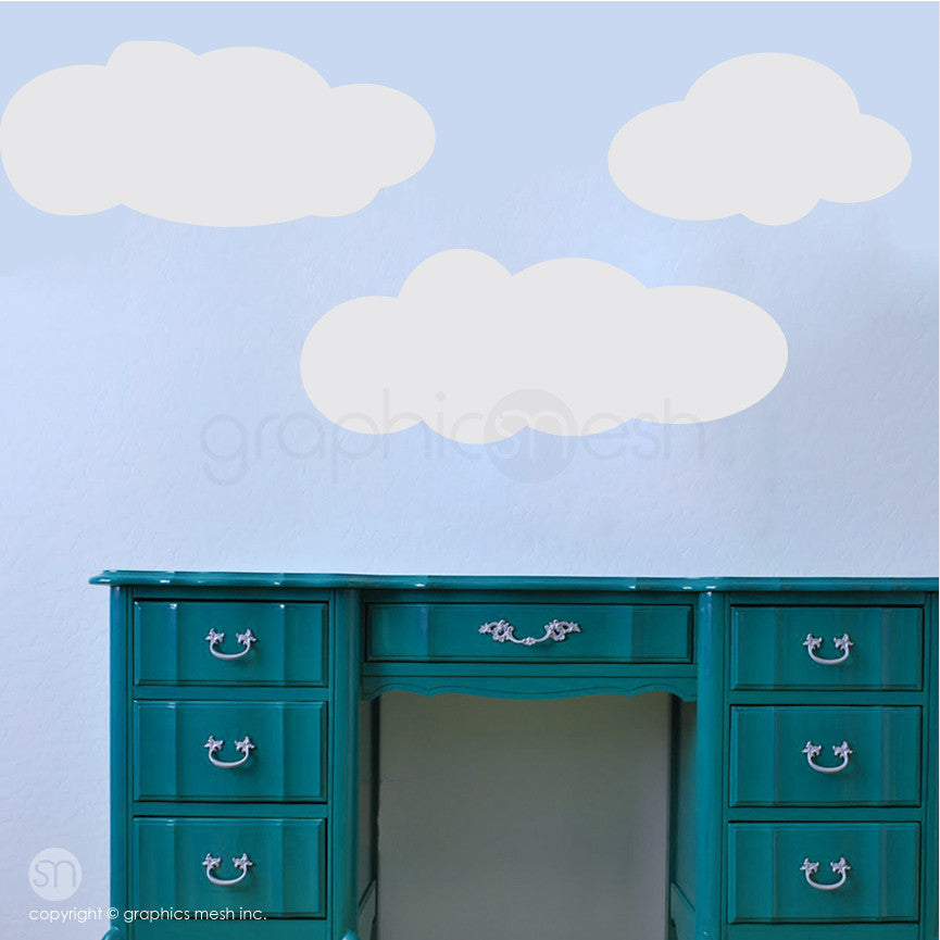 CARTOON CLOUDS MEMO   DRY ERASE WALL DECALS Grey On Blue Wall