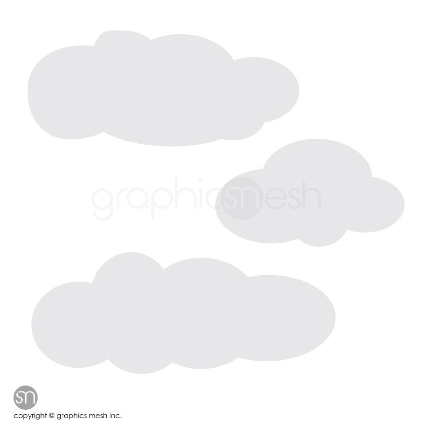 CARTOON CLOUDS MEMO - DRY ERASE WALL DECALS grey